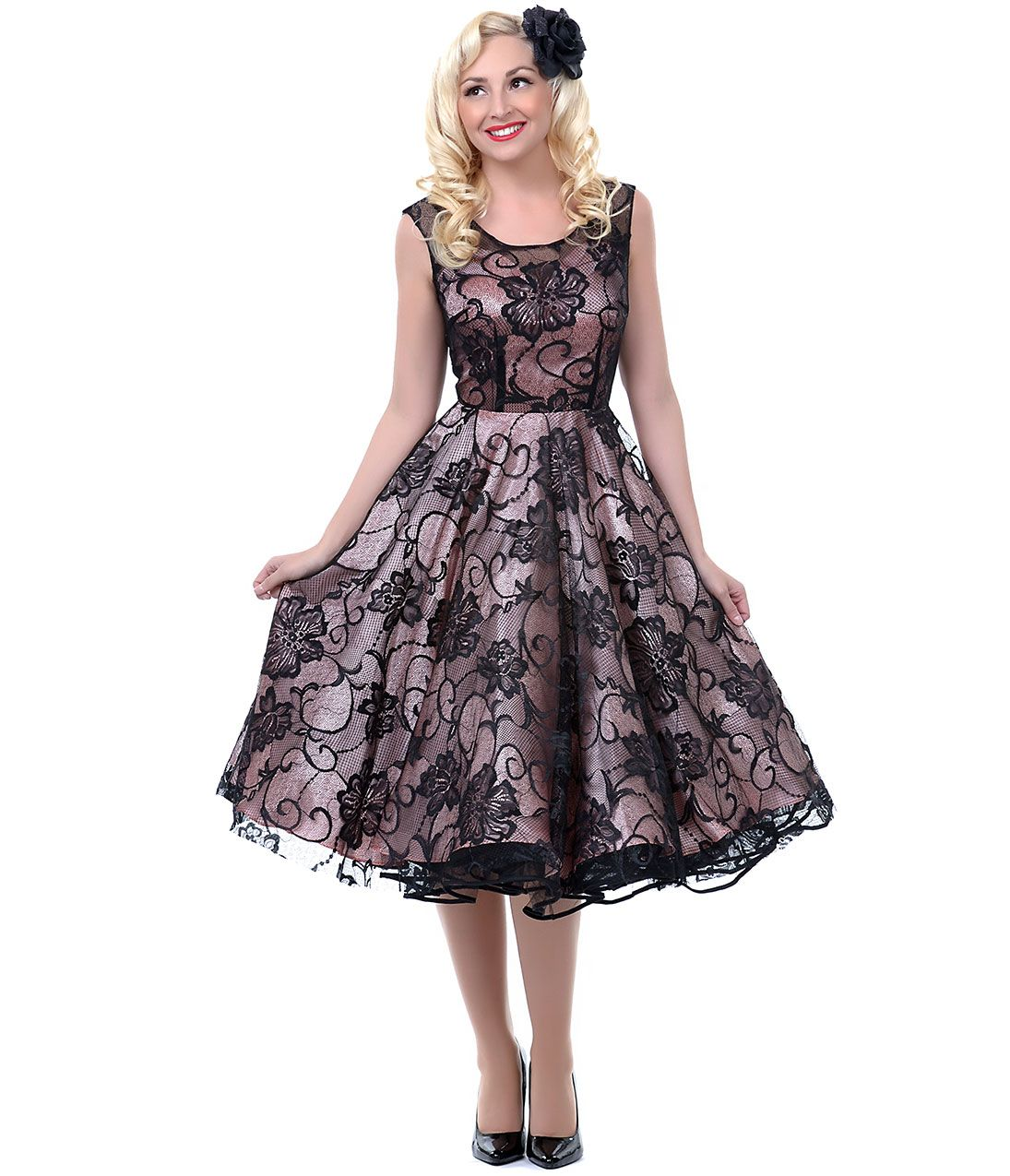 Pink u black lux lace swing dress unique vintage prom dresses