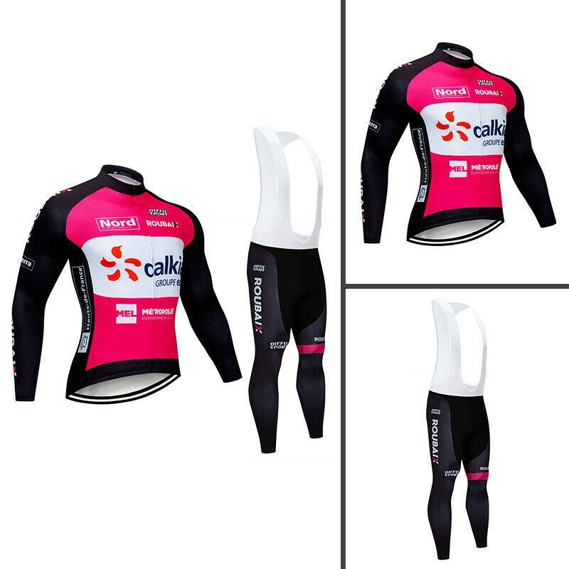 Padded Trousers Cycling Jersey Bib Tights Set Winter Long Sleeve Fleece Jacket