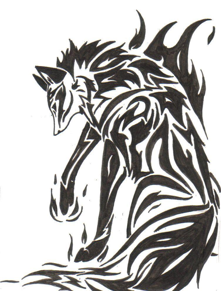Fox tribal. Tattoo fire by zaiynin