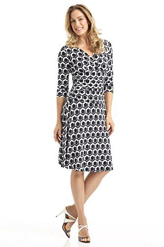 Rekucci Women's Slimming 3/4 Sleeve Fit-and-Flare Crossover Tummy Control Dress (12,Black Ivory Geo)