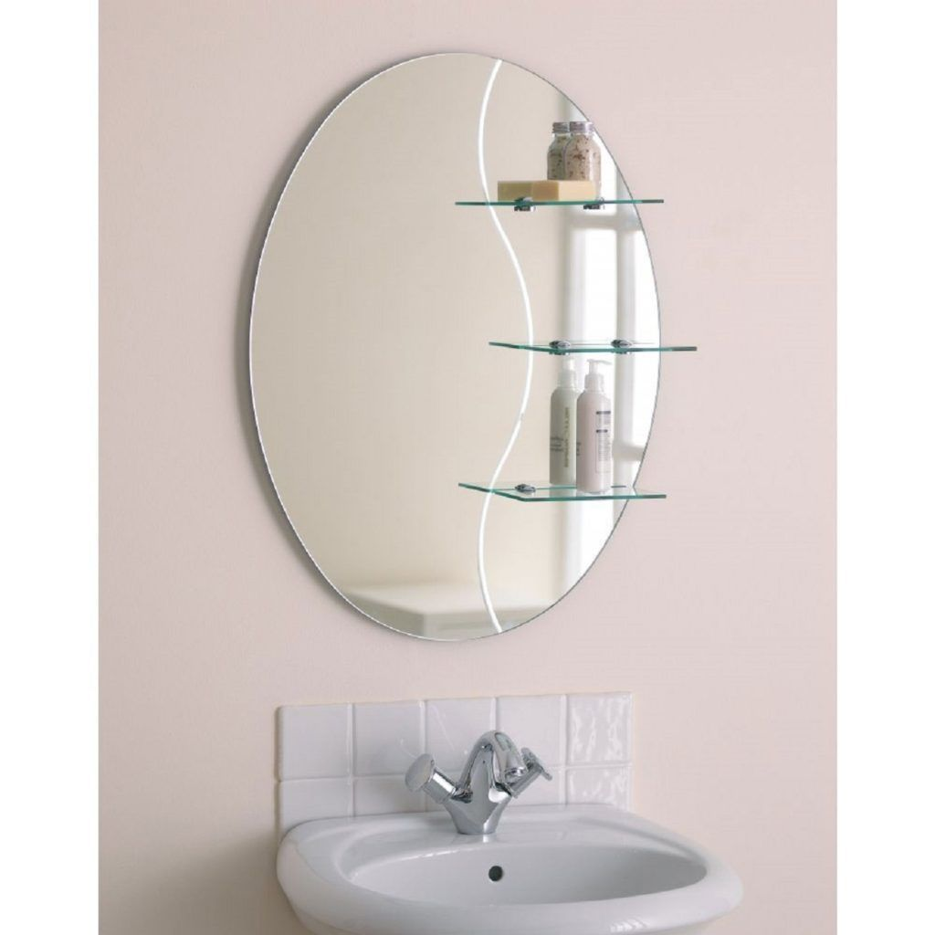 Oval bathroom mirror with shelves