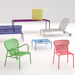 The Week-end collection by Studio Brichet Ziegler is a range of outdoor furniture. It includes a chair, a bridge chair, a low armchair, a bench, a bistrot table, a big table for 10 persons, a coffee table and a sunbed. Designed for an easy use all chairs and tables are stackable.