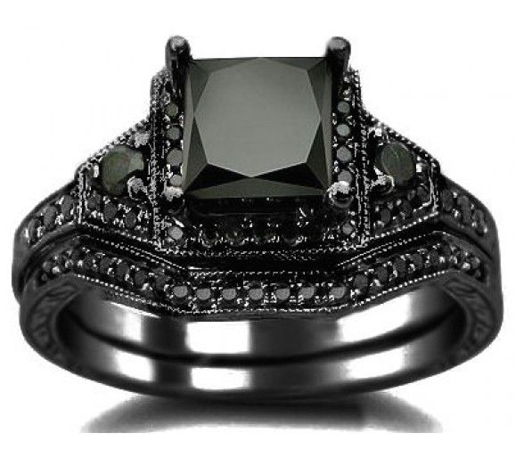 2.06ct Black Princess Cut Diamond Engagement Ring Wedding Bridal Set 14k  Black Gold / Front