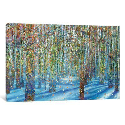 """Red Barrel Studio Snow Fall Painting Print on Wrapped Canvas Size: 12"""" H x 18"""" W x 0.75"""" D"""