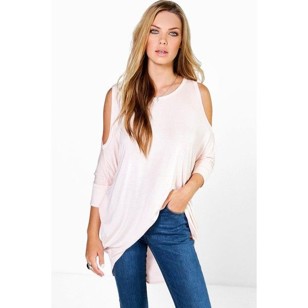 Boohoo Nina Cold Shoulder Tunic Top ($20) ❤ liked on Polyvore featuring tops, tunics, pink, white crop top, cold shoulder tunic, pink crop top, basic t shirt and jersey crop top