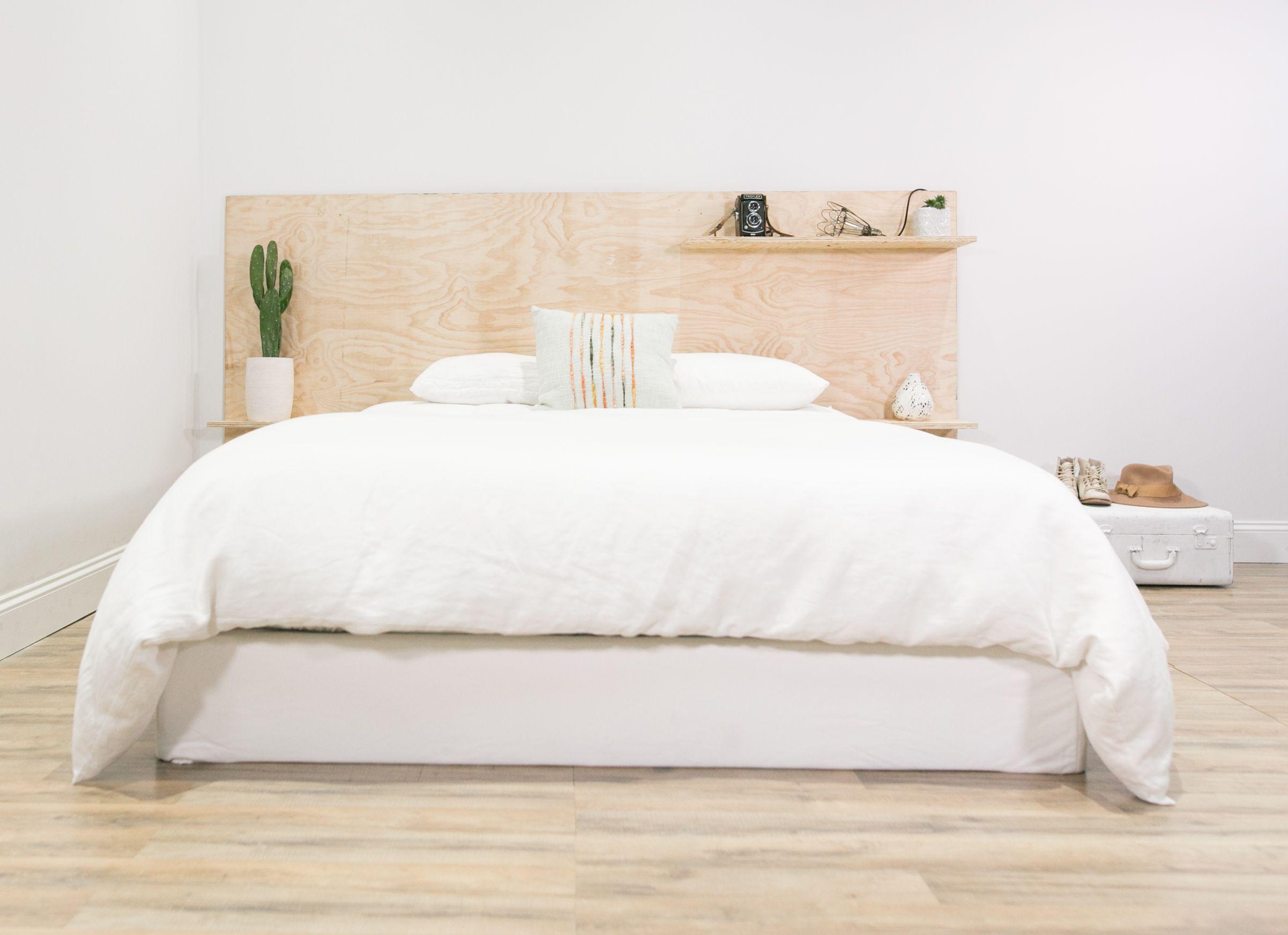 Diy Minimalist Plywood Shelf Headboard Small Bedroom Diy Diy