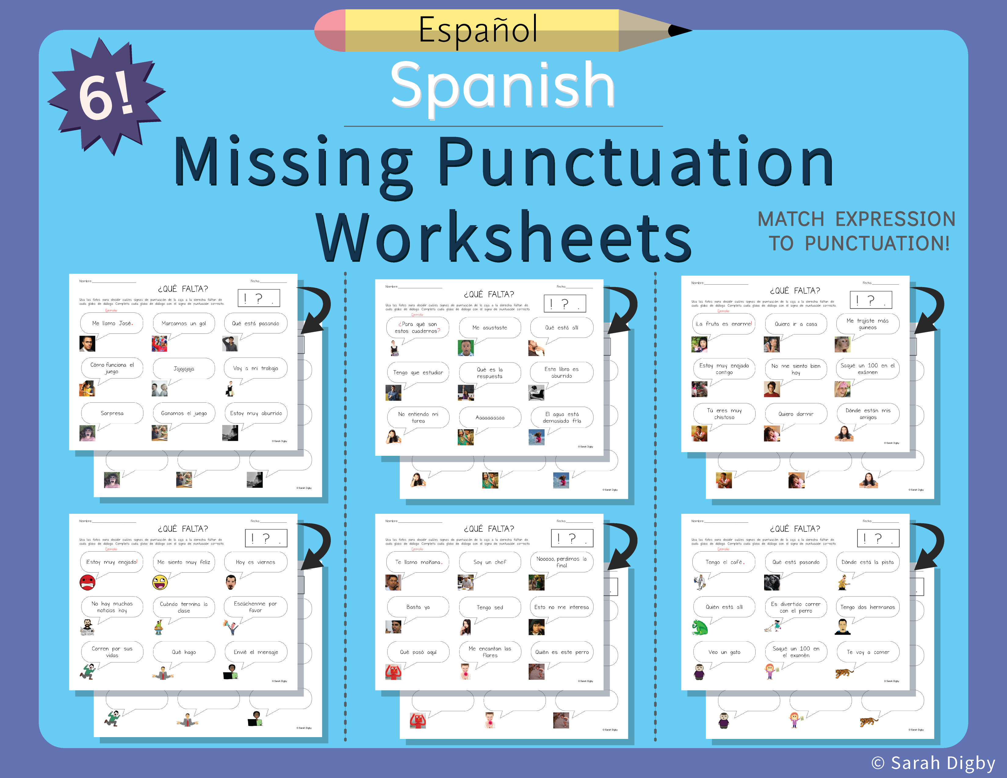 6 Double Sided Missing Punctuation Worksheets Spanish