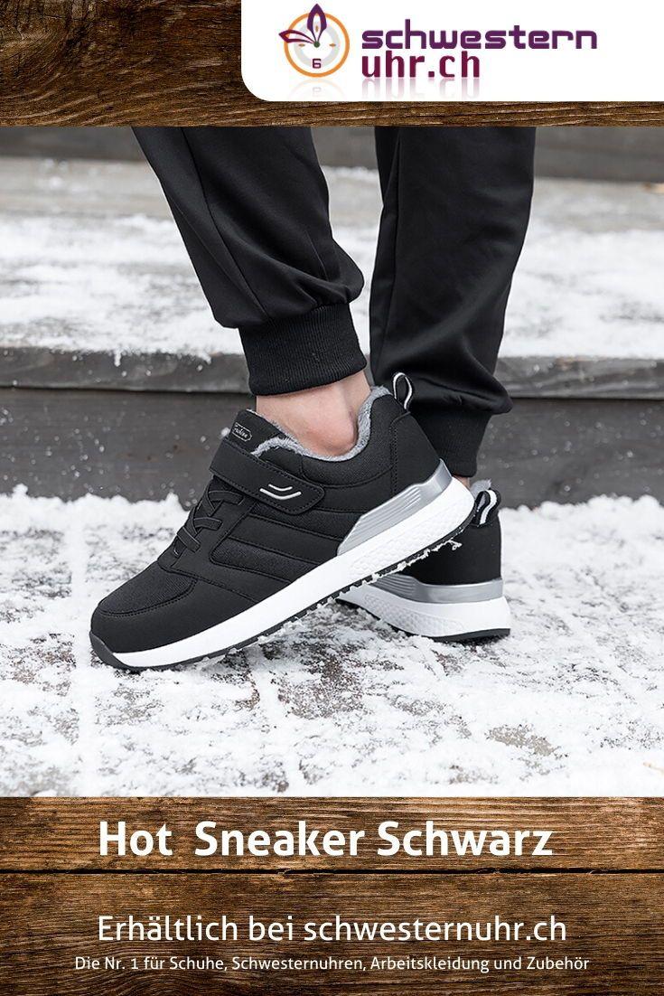 Hot Sneaker Schwarz für Damen. Komplett gefütterter Sneaker