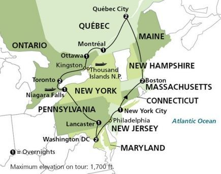 Map Of New York To Quebec Canada.14 Day East Coast Road Trip Cut This In Half Keep It Just