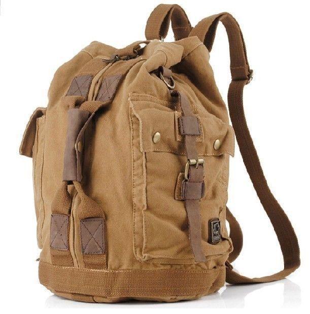 bc907ba1f6 Vintage Men Military Canvas Leather Travel Backpack Luggage Bag Shoulder Bag   Handmade  Backpack