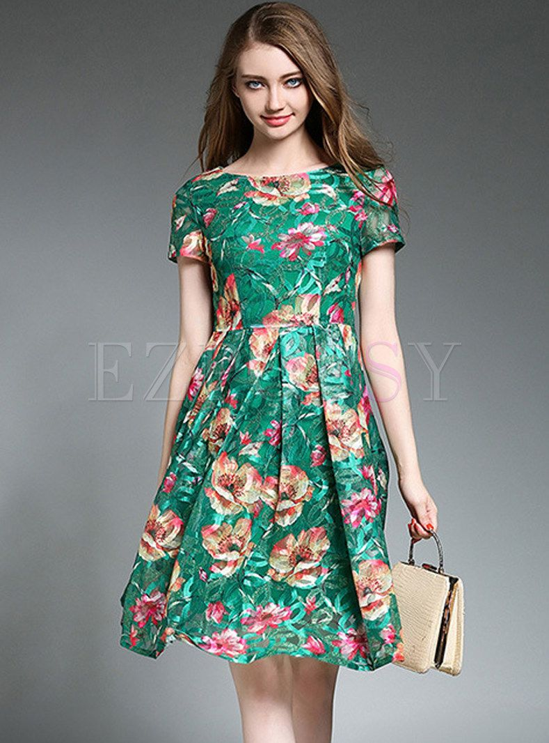 Shop for high quality Stylish Lace Floral Print Wrinkle Short Sleeve Skater  Dress online at cheap prices and discover fashion at Ezpopsy.com 9a81a2f6d