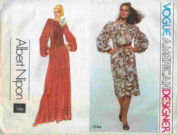 Vogue sewing pattern, American Designer Albert Nipon dress 1744 ...