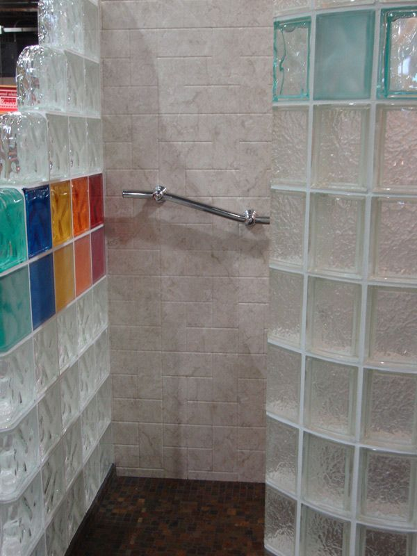 Top row is various rainbow colored blocks and bottom row for Acrylic block shower walls