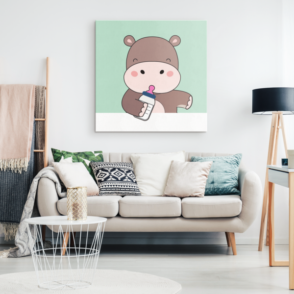 Cute Baby Hippo Nursery Canvas Wall Art #babyhippo