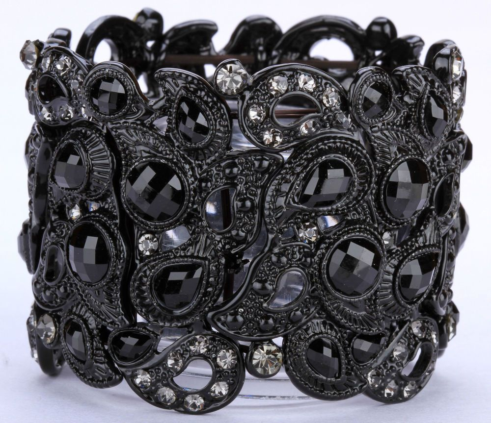 Black crystal lucite stretchy bracelet BD03;big discount for $50+ #DZsJewelry #Cuff