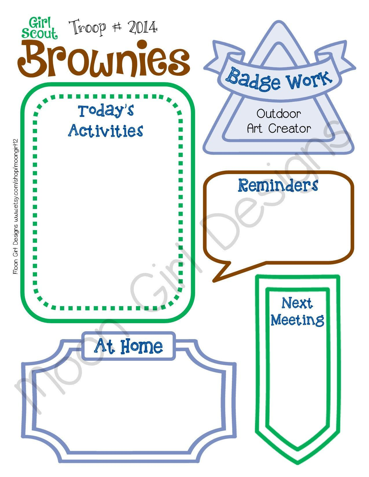 Brownie Meeting Activity Planner Girl Scouts Fillable