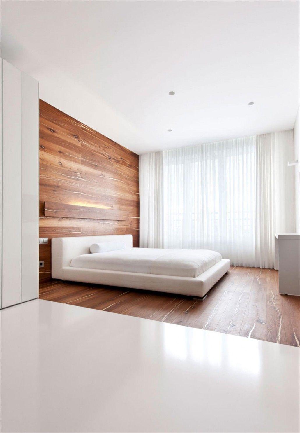 Walnut Bedroom Flooring And White Bed Design Under Recessed Lights