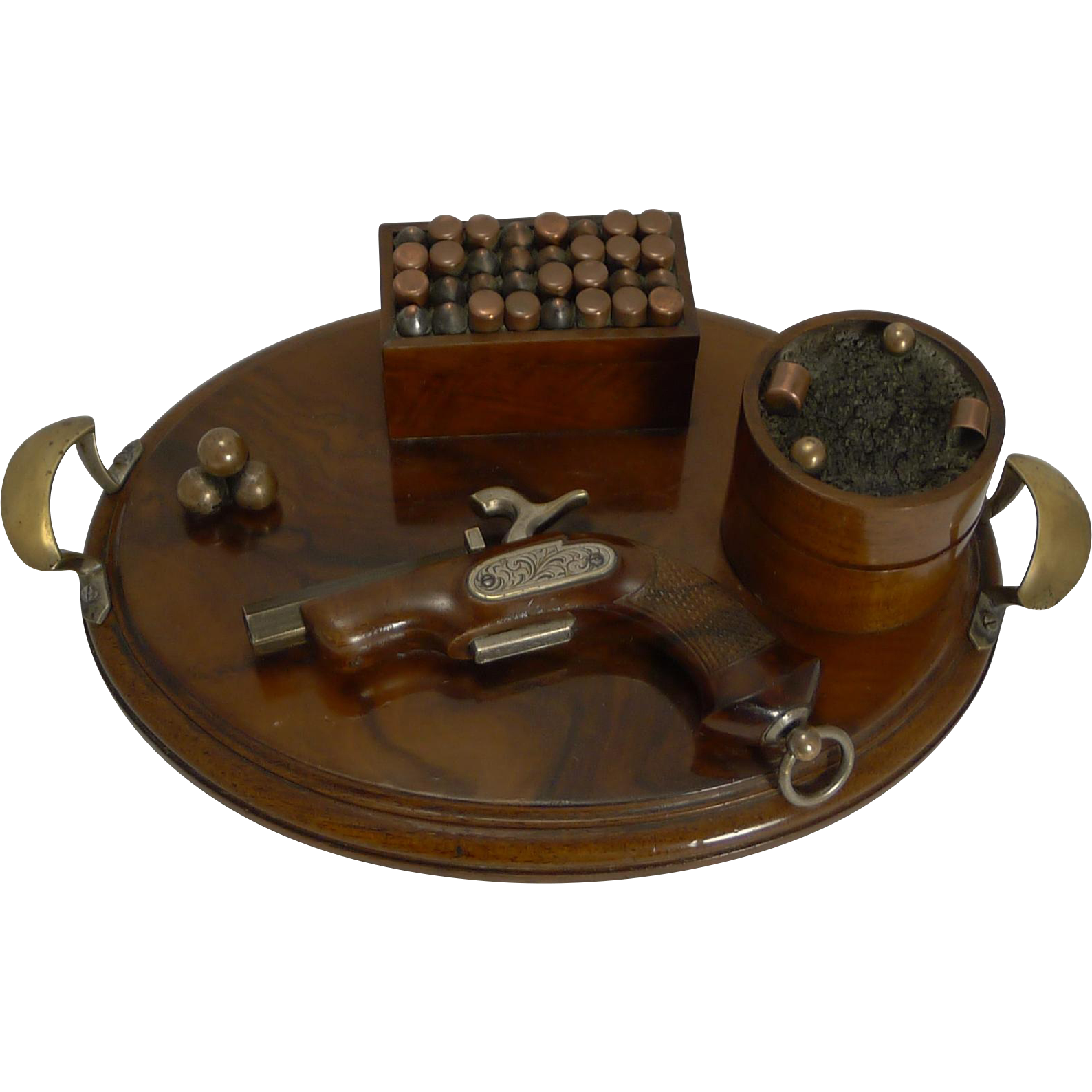 Rare Antique Walnut Desk Set - Gun Theme c.1890