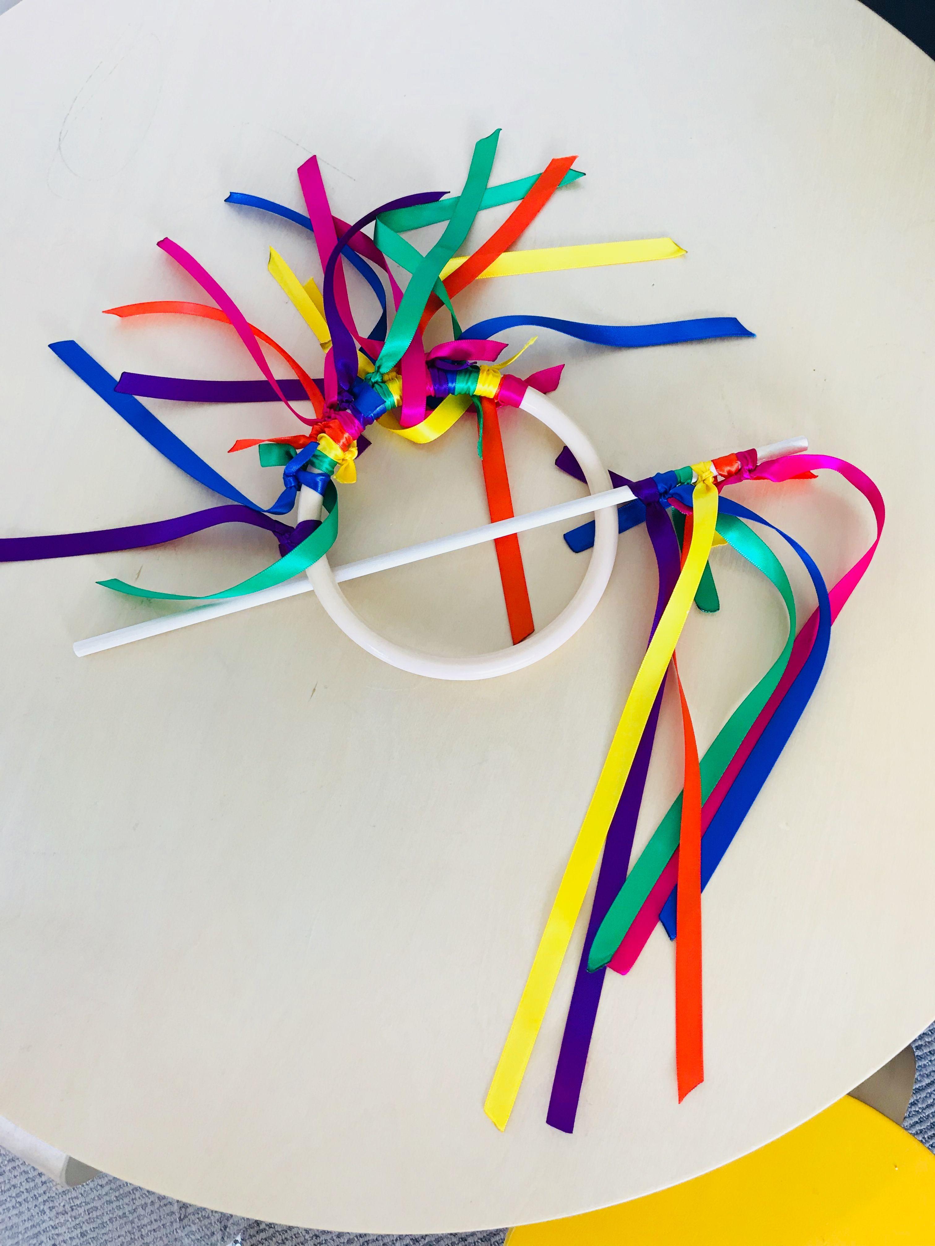 Homemade toys - ribbon wand and ribbon ring