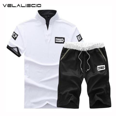2a8e42ab5d5 VELALISCIO Men Tracksuit 2018 Men s Casual Suit Summer Shorts T-Shirt New  Fashion Beach Short Men s Clothing