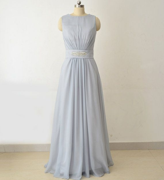 Silver Bridesmaid Dresses Long Bridesmaid by StarCustomDress