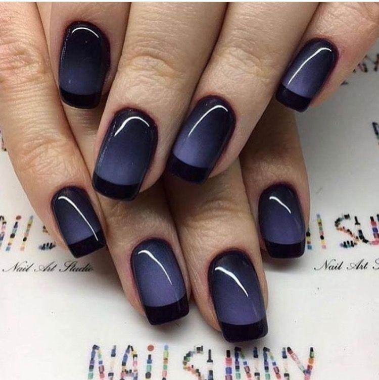 Blue and black french tip gradient nail art nail art pinterest blue and black french tip gradient nail art prinsesfo Choice Image