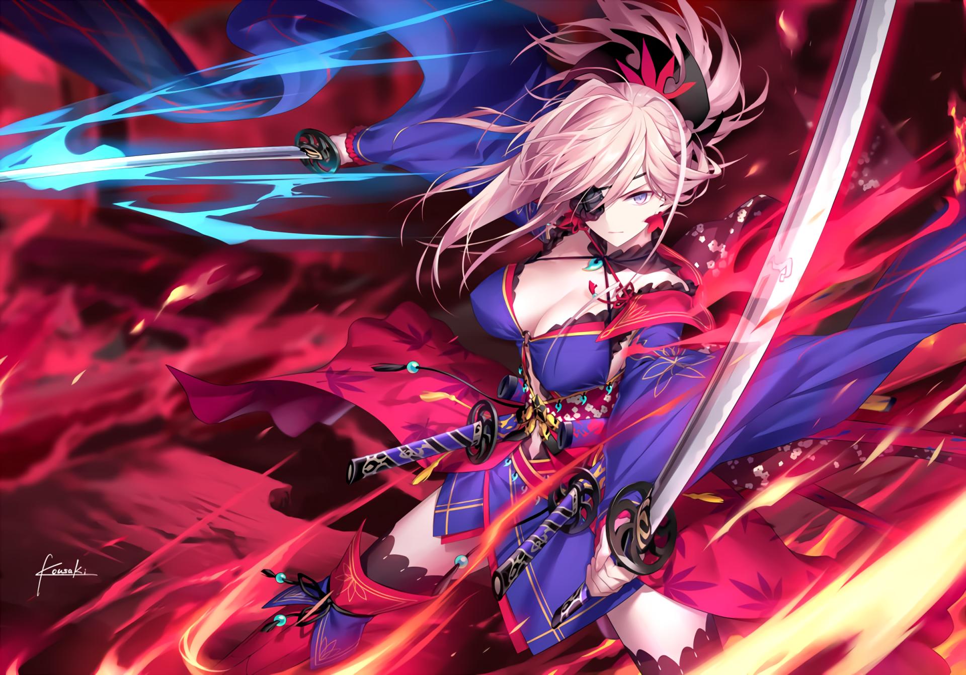 Anime Fate Grand Order Miyamoto Musashi Wallpaper Anime Warrior Fate Anime Series Anime Warrior Girl