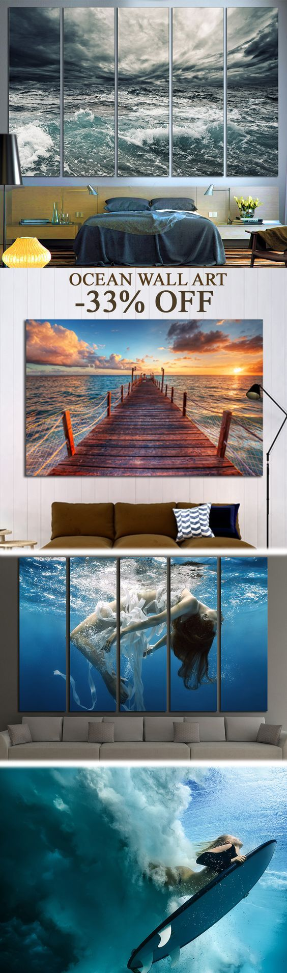 Extra large ocean wall art for home u office decoration good