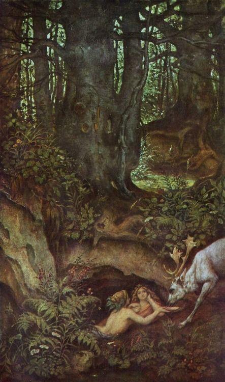 {Mermaids Of The Forest Spring} by {Mortiz Von Schwind}