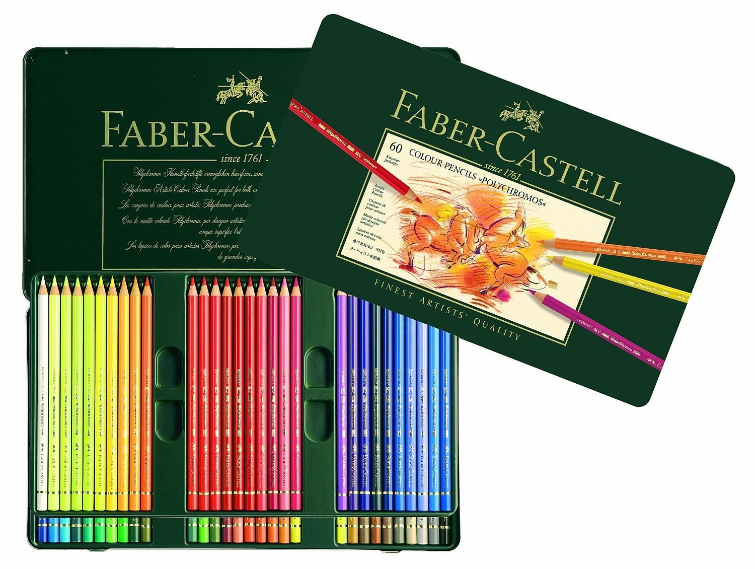 60 faber castell polychromos colored pencils colored pencil set coloring pencils tin. Black Bedroom Furniture Sets. Home Design Ideas