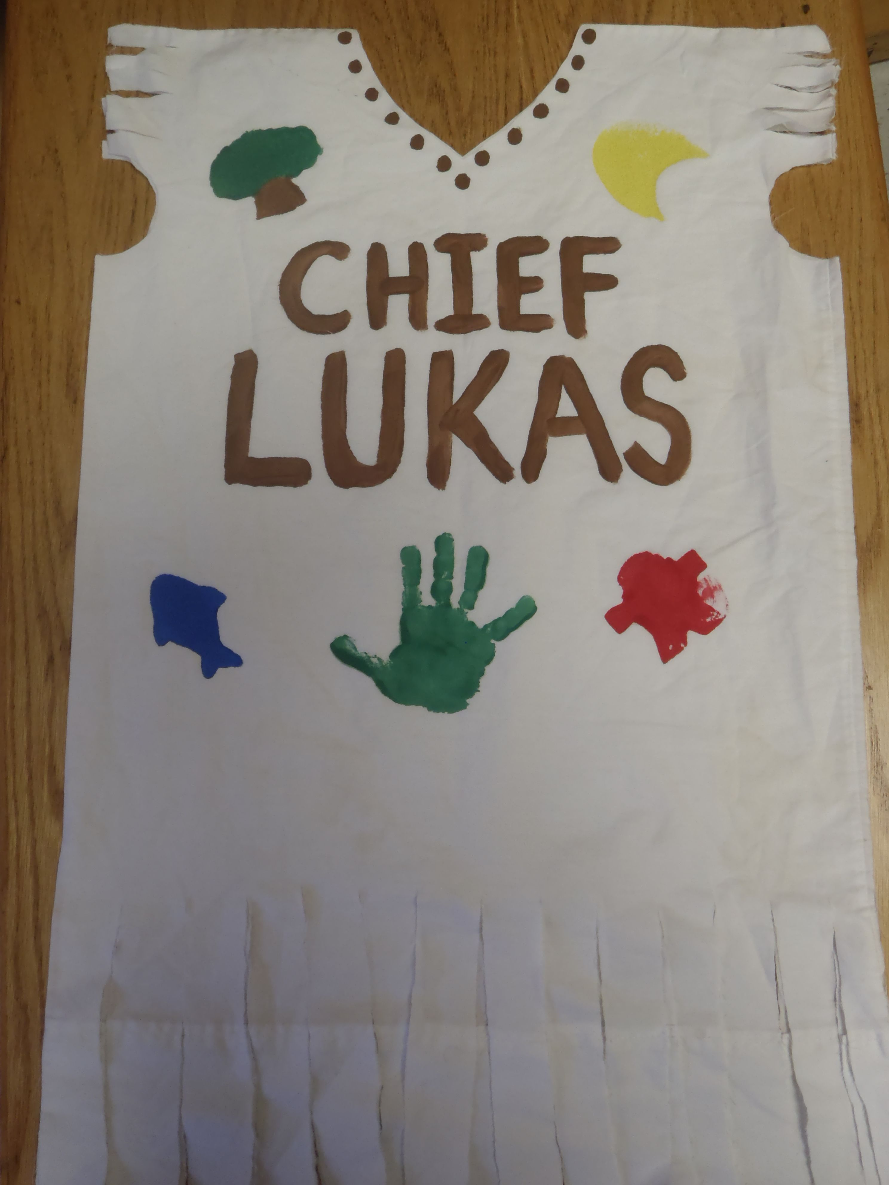 Boys Indian Chief Costume Made From A Pillowcase