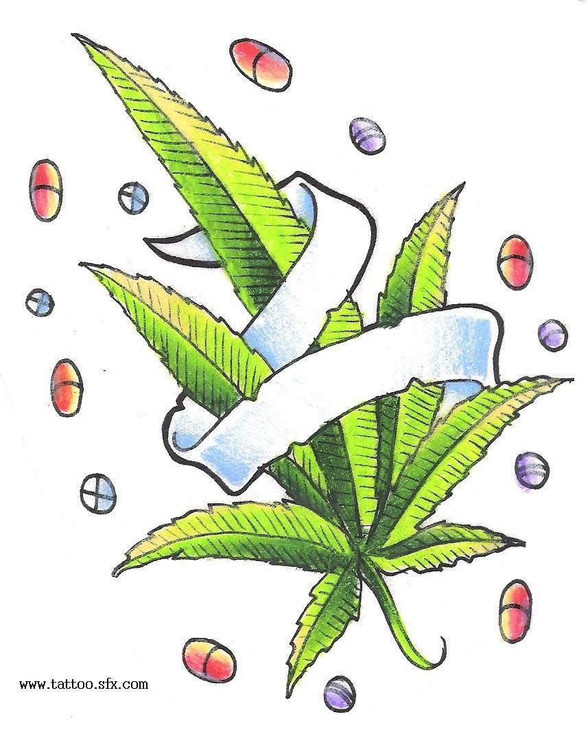 pot leaf and pills tattoo design weed with banner tatos pinterest tatuajes y color. Black Bedroom Furniture Sets. Home Design Ideas