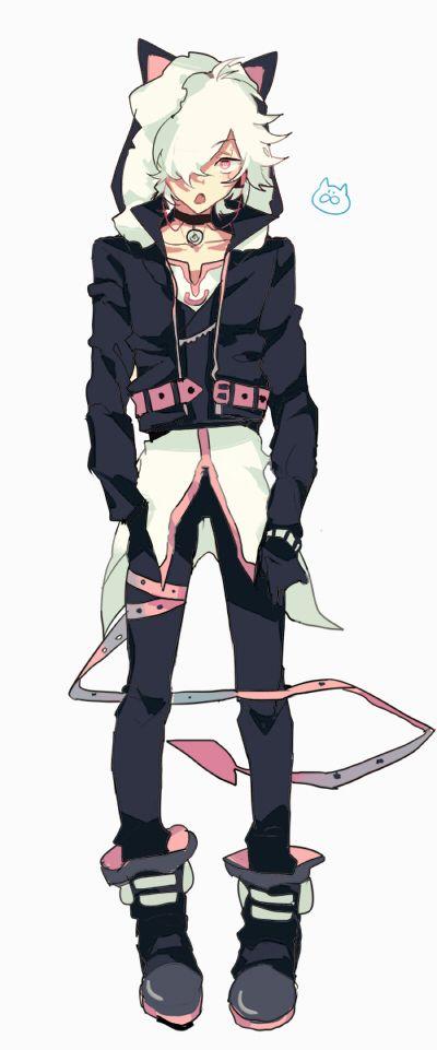 cute neko cat boy anime white hair