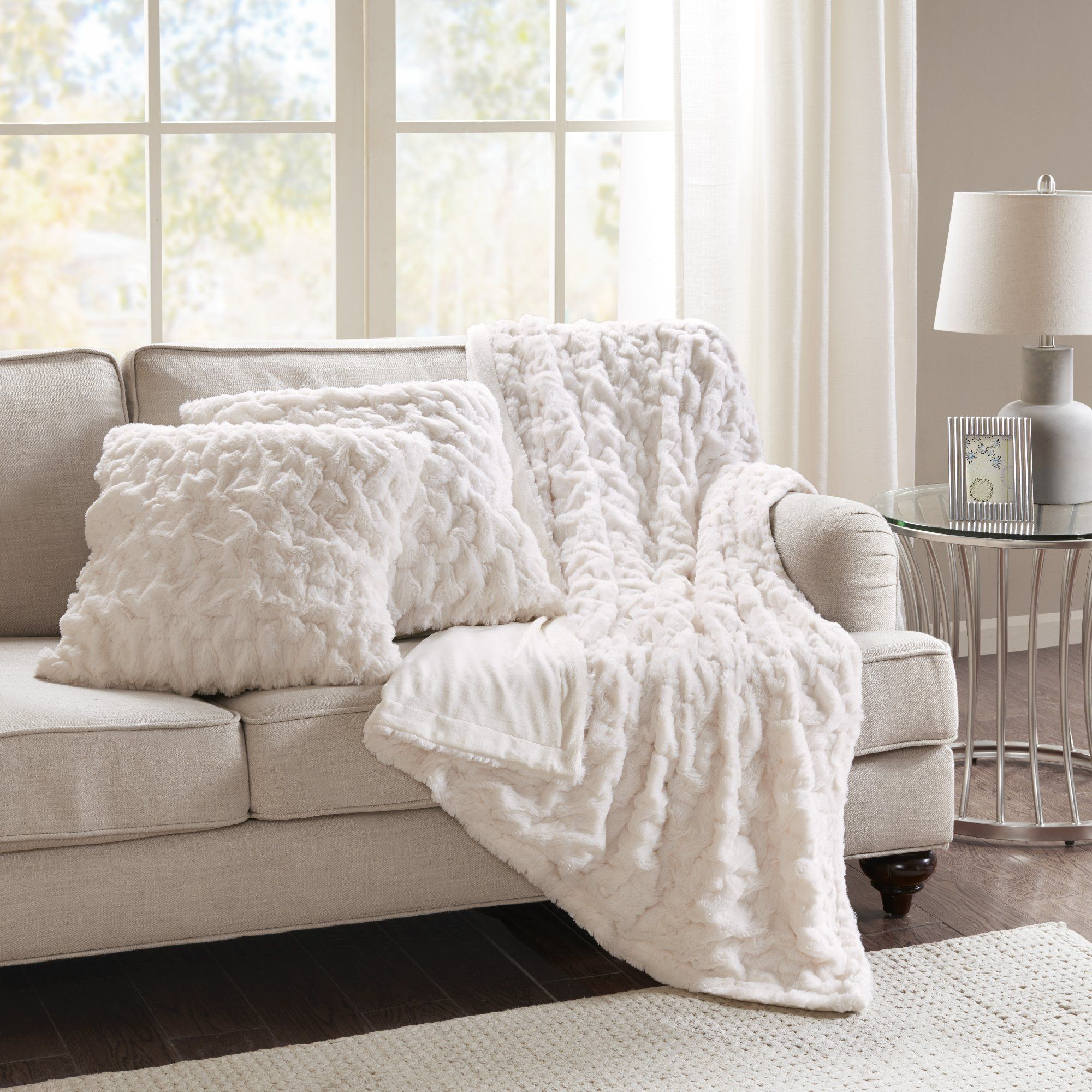 Strange Buy Comfort Spaces Faux Fur Throw Blanket Set Fluffy Plush Bralicious Painted Fabric Chair Ideas Braliciousco