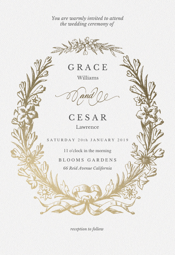 Golden Wreath Wedding Invitation Template Free Wedding