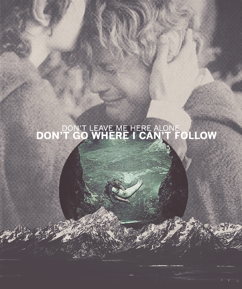 """The relationship between Sam and Frodo is perhaps the truest friendship in all of fiction. """"Don't leave me here alone. Don't go where I can't follow."""" --Samwise Gamgee."""
