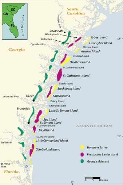 Map Of Georgia Coastal Towns.Barrier Islands Off Georgia S Coast Here Or The Keys Would Be A