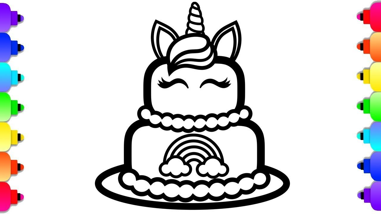 Glitter unicorn cake coloring and drawing for kids