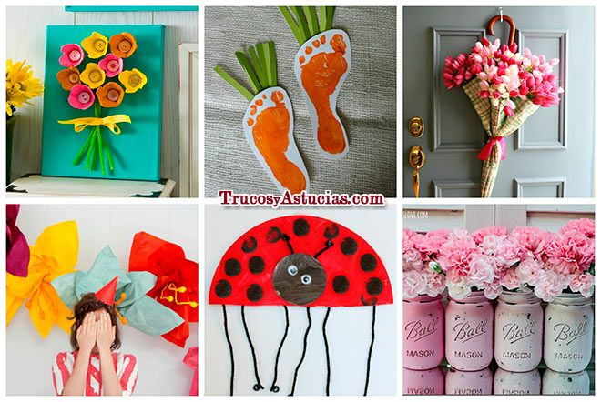 48 manualidades para hacer en primavera. | Ver todas en: http://trucosyastucias.com/decorar-reciclando/manualidades-primavera  #manualidades #primavera #flores #spring #crafts #flowers #ideas #original #kids #decoration #upcycling
