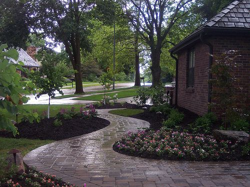 front stone walkway and landscaping