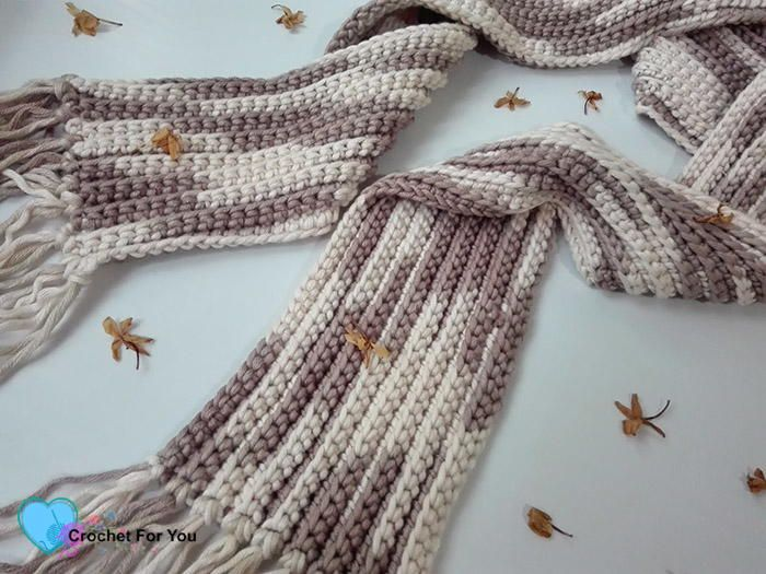 Crochet Easy Ribbed Scarf Hooks Needles Pinterest Single