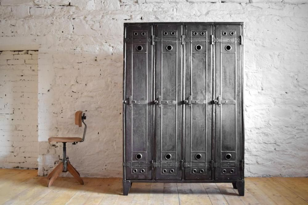 Fantastisch 4er Spind Schrank Antik Metall Vintage Fabrik Lost Places Alt  Industriedesign