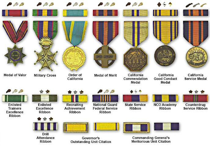 California medals and ribbon with attachments military for Army awards and decoration