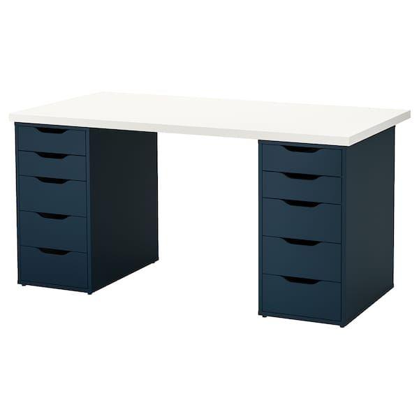 Linnmon Alex Table White Blue 59x29 1 2 Get It Today Ikea Drawer Unit Ikea Honeycomb Pattern