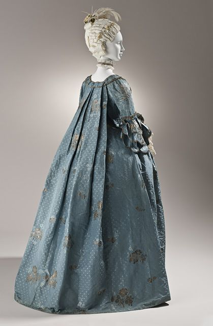 LACMA Collections Online - 1765, Robe a la Francaise; Silk faille with silk and metallic-thread supplementary-weft patterning, and metallic lace; Petticoat center back length 35 inches; Robe center back length 54.25 inches