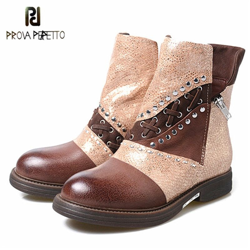 4afafecbd3cb Prova Perfetto Fashion Metal Decor Womens Motorcycle Boots Patchwork Genuine  Leather Flat Ankle Boots Woman Winter Martin Boots