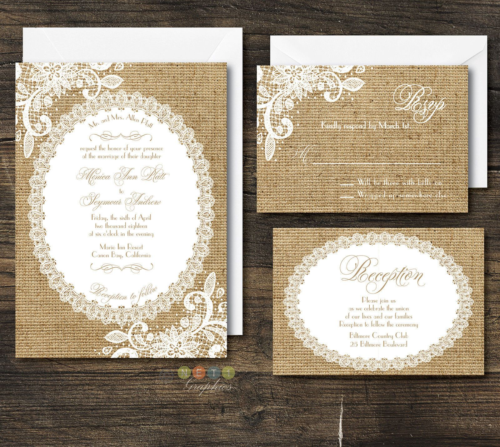 100 Personalized Rustic Burlap & Lace Wedding Invitation Suite With ...