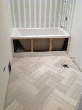 Herringbone Floor In A 12x24 Porcelain Tile For The Mud Room
