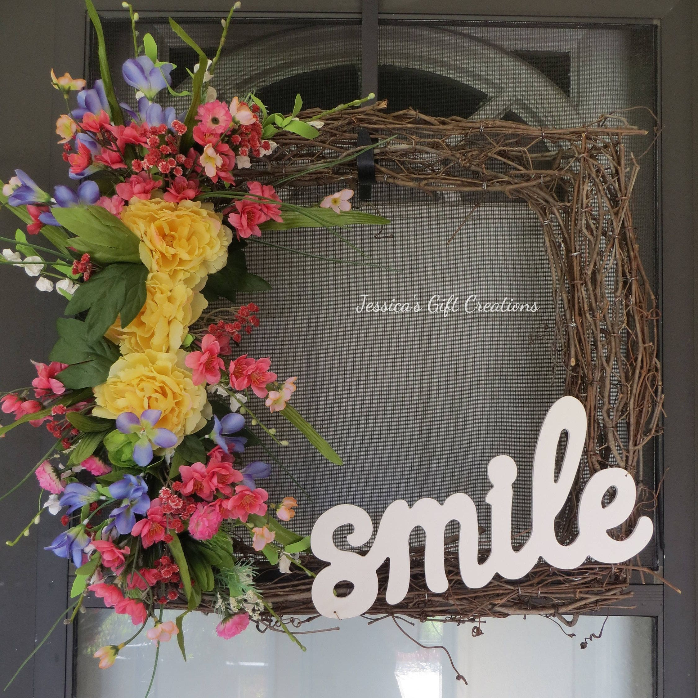 Ready To Ship Smile Grapevine Wreath/Square Wreath/Door Wreath/Front Door/