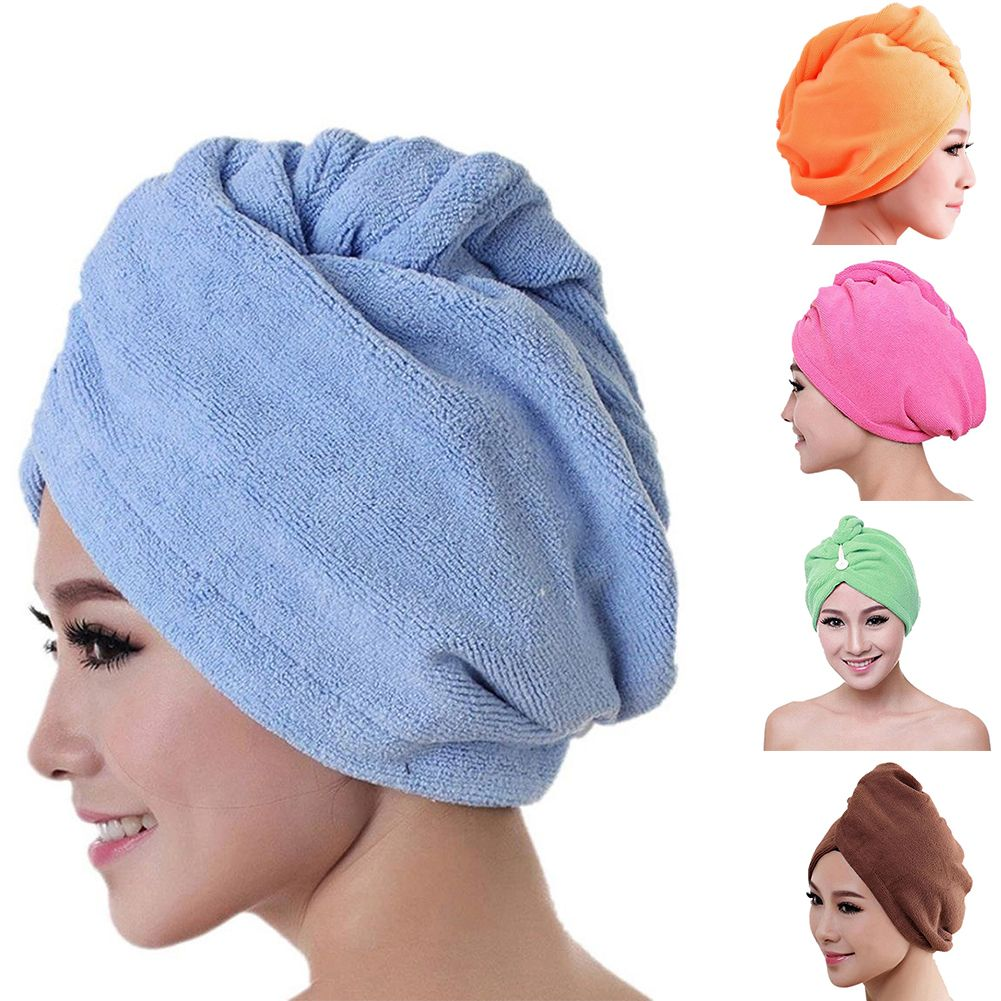 Absorbent Bathing Dry Hair Hats Wrapped Towel Shower Cap Microfiber Turban